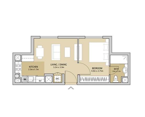 remraam floorplan 1 bedroom type 1